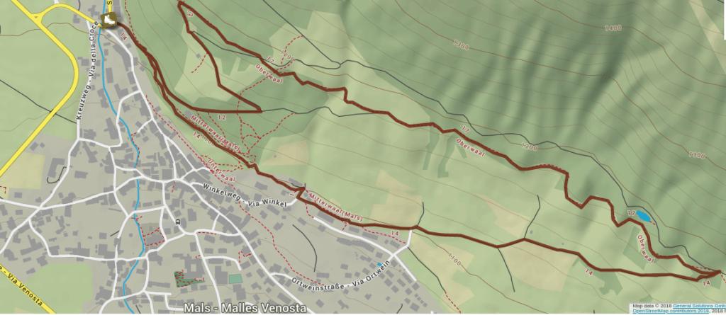 Itinerario da Malles lungo il sentiero della Roggia di Oberwall