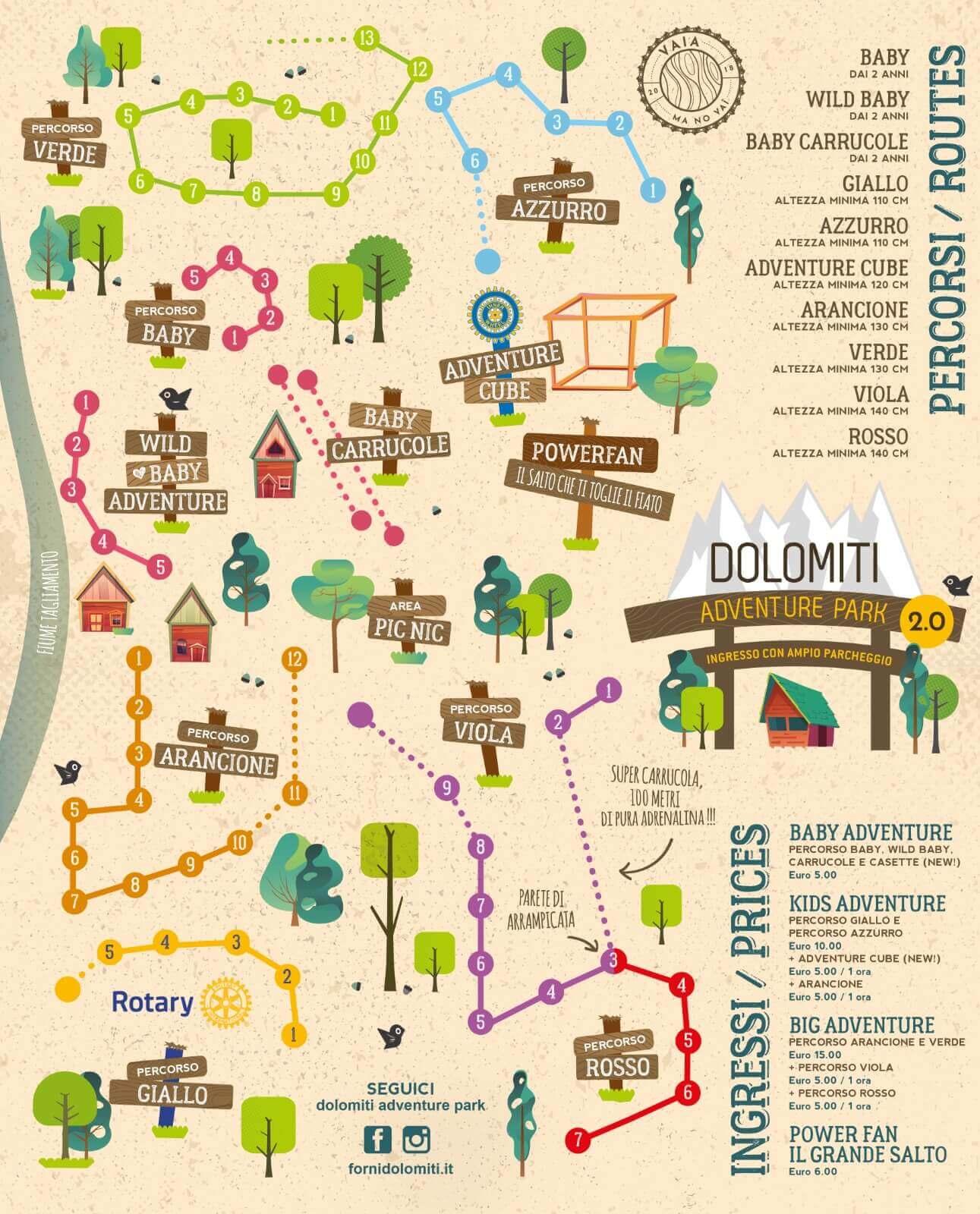 Mappa con i percorsi del Dolomiti Adventure Park