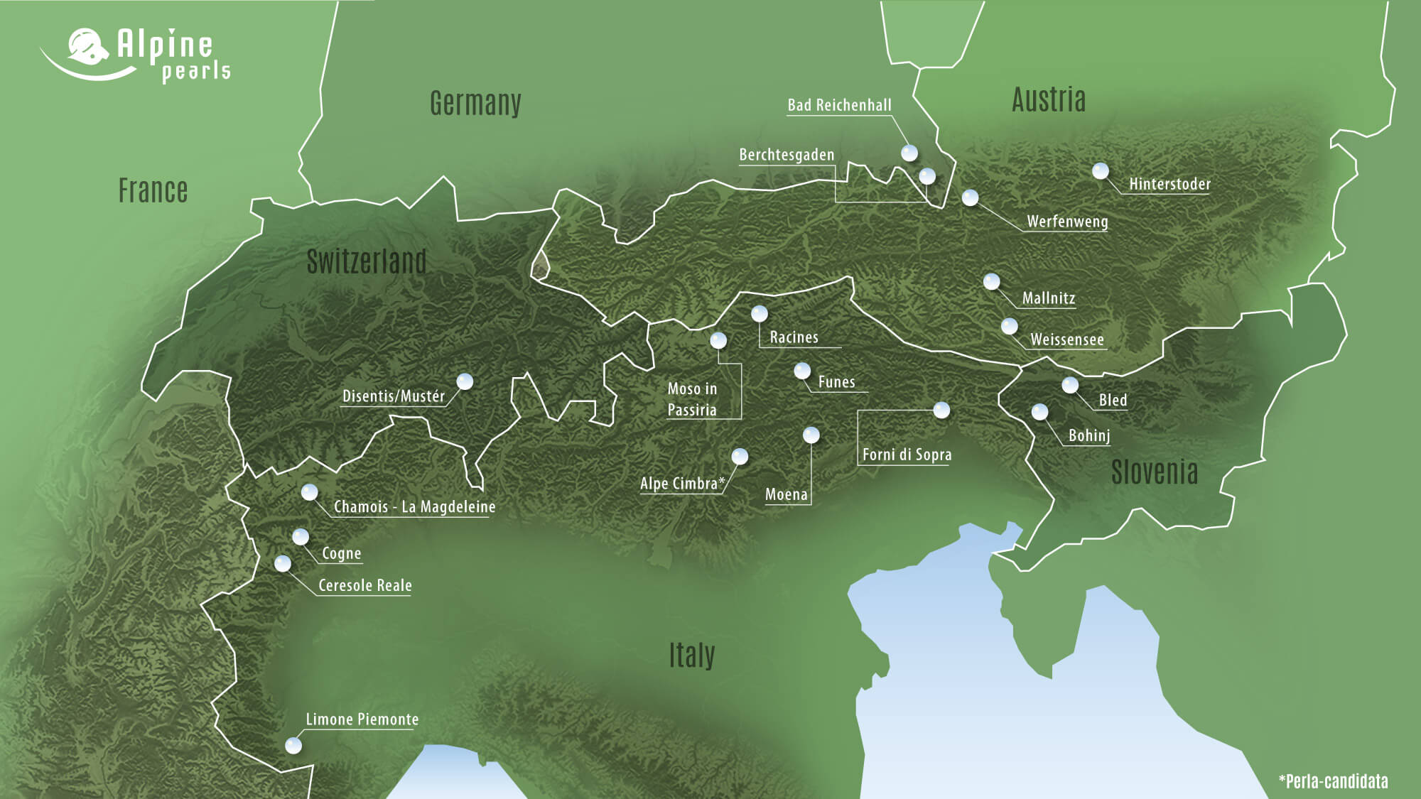 Cartina delle Perle Alpine